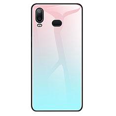 Coque Rebord Contour Silicone et Vitre Miroir Housse Etui Degrade Arc en Ciel pour Samsung Galaxy A6s Bleu Ciel