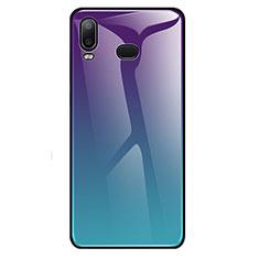Coque Rebord Contour Silicone et Vitre Miroir Housse Etui Degrade Arc en Ciel pour Samsung Galaxy A6s Cyan