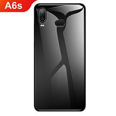 Coque Rebord Contour Silicone et Vitre Miroir Housse Etui Degrade Arc en Ciel pour Samsung Galaxy A6s Noir