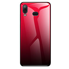 Coque Rebord Contour Silicone et Vitre Miroir Housse Etui Degrade Arc en Ciel pour Samsung Galaxy A6s Rouge