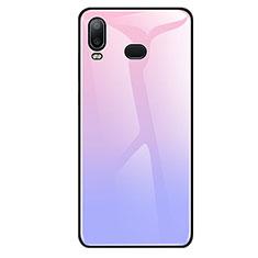 Coque Rebord Contour Silicone et Vitre Miroir Housse Etui Degrade Arc en Ciel pour Samsung Galaxy A6s Violet