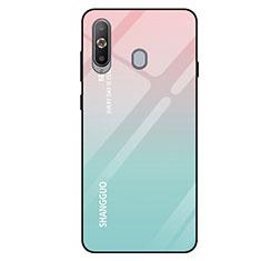 Coque Rebord Contour Silicone et Vitre Miroir Housse Etui Degrade Arc en Ciel pour Samsung Galaxy A8s SM-G8870 Cyan