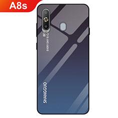 Coque Rebord Contour Silicone et Vitre Miroir Housse Etui Degrade Arc en Ciel pour Samsung Galaxy A8s SM-G8870 Noir