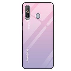 Coque Rebord Contour Silicone et Vitre Miroir Housse Etui Degrade Arc en Ciel pour Samsung Galaxy A8s SM-G8870 Rose