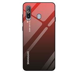 Coque Rebord Contour Silicone et Vitre Miroir Housse Etui Degrade Arc en Ciel pour Samsung Galaxy A8s SM-G8870 Rouge