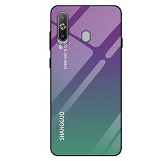 Coque Rebord Contour Silicone et Vitre Miroir Housse Etui Degrade Arc en Ciel pour Samsung Galaxy A8s SM-G8870 Vert
