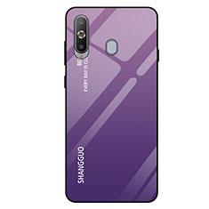Coque Rebord Contour Silicone et Vitre Miroir Housse Etui Degrade Arc en Ciel pour Samsung Galaxy A8s SM-G8870 Violet