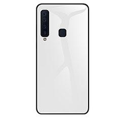 Coque Rebord Contour Silicone et Vitre Miroir Housse Etui Degrade Arc en Ciel pour Samsung Galaxy A9s Blanc