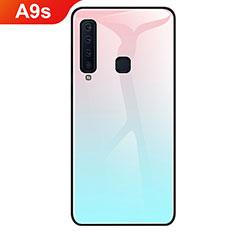 Coque Rebord Contour Silicone et Vitre Miroir Housse Etui Degrade Arc en Ciel pour Samsung Galaxy A9s Cyan