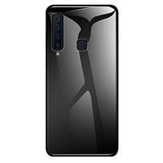 Coque Rebord Contour Silicone et Vitre Miroir Housse Etui Degrade Arc en Ciel pour Samsung Galaxy A9s Noir