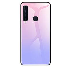 Coque Rebord Contour Silicone et Vitre Miroir Housse Etui Degrade Arc en Ciel pour Samsung Galaxy A9s Violet