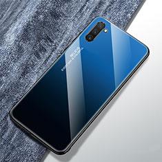 Coque Rebord Contour Silicone et Vitre Miroir Housse Etui Degrade Arc en Ciel pour Samsung Galaxy Note 10 5G Bleu
