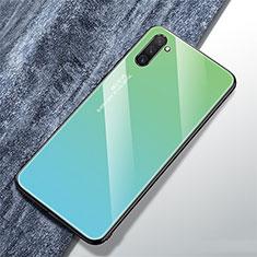 Coque Rebord Contour Silicone et Vitre Miroir Housse Etui Degrade Arc en Ciel pour Samsung Galaxy Note 10 Cyan
