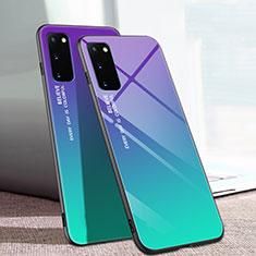 Coque Rebord Contour Silicone et Vitre Miroir Housse Etui Degrade Arc en Ciel pour Samsung Galaxy S20 5G Mixte