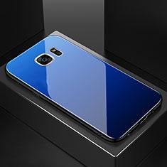 Coque Rebord Contour Silicone et Vitre Miroir Housse Etui Degrade Arc en Ciel pour Samsung Galaxy S7 Edge G935F Bleu
