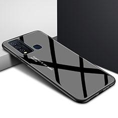 Coque Rebord Contour Silicone et Vitre Miroir Housse Etui Degrade Arc en Ciel pour Vivo Y50 Noir