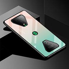 Coque Rebord Contour Silicone et Vitre Miroir Housse Etui Degrade Arc en Ciel pour Xiaomi Black Shark 3 Pro Vert