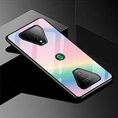 Coque Rebord Contour Silicone et Vitre Miroir Housse Etui Degrade Arc en Ciel pour Xiaomi Black Shark 3 Rose