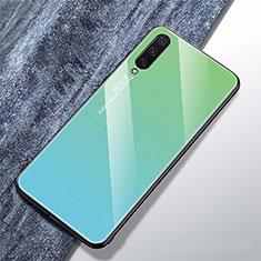 Coque Rebord Contour Silicone et Vitre Miroir Housse Etui Degrade Arc en Ciel pour Xiaomi CC9e Cyan