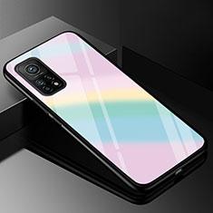 Coque Rebord Contour Silicone et Vitre Miroir Housse Etui Degrade Arc en Ciel pour Xiaomi Mi 10T 5G Colorful