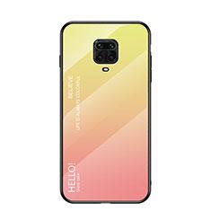 Coque Rebord Contour Silicone et Vitre Miroir Housse Etui Degrade Arc en Ciel pour Xiaomi Poco M2 Pro Jaune