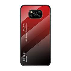 Coque Rebord Contour Silicone et Vitre Miroir Housse Etui Degrade Arc en Ciel pour Xiaomi Poco X3 NFC Rouge