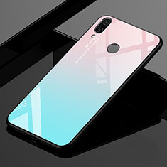 Coque Rebord Contour Silicone et Vitre Miroir Housse Etui Degrade Arc en Ciel pour Xiaomi Redmi 7 Cyan