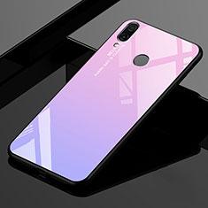 Coque Rebord Contour Silicone et Vitre Miroir Housse Etui Degrade Arc en Ciel pour Xiaomi Redmi 7 Rose
