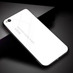 Coque Rebord Contour Silicone et Vitre Miroir Housse Etui Degrade Arc en Ciel pour Xiaomi Redmi Go Blanc