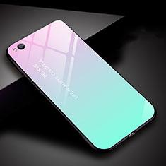 Coque Rebord Contour Silicone et Vitre Miroir Housse Etui Degrade Arc en Ciel pour Xiaomi Redmi Go Cyan