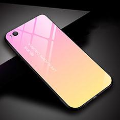 Coque Rebord Contour Silicone et Vitre Miroir Housse Etui Degrade Arc en Ciel pour Xiaomi Redmi Go Rose