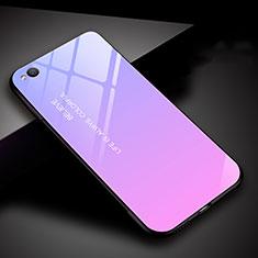 Coque Rebord Contour Silicone et Vitre Miroir Housse Etui Degrade Arc en Ciel pour Xiaomi Redmi Go Violet