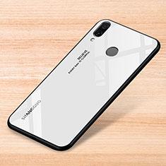 Coque Rebord Contour Silicone et Vitre Miroir Housse Etui Degrade Arc en Ciel pour Xiaomi Redmi Note 7 Blanc