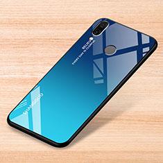 Coque Rebord Contour Silicone et Vitre Miroir Housse Etui Degrade Arc en Ciel pour Xiaomi Redmi Note 7 Bleu