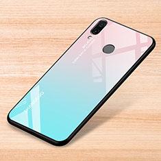 Coque Rebord Contour Silicone et Vitre Miroir Housse Etui Degrade Arc en Ciel pour Xiaomi Redmi Note 7 Bleu Ciel