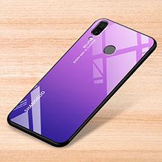 Coque Rebord Contour Silicone et Vitre Miroir Housse Etui Degrade Arc en Ciel pour Xiaomi Redmi Note 7 Pro Violet
