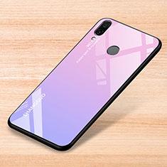 Coque Rebord Contour Silicone et Vitre Miroir Housse Etui Degrade Arc en Ciel pour Xiaomi Redmi Note 7 Rose