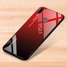 Coque Rebord Contour Silicone et Vitre Miroir Housse Etui Degrade Arc en Ciel pour Xiaomi Redmi Note 7 Rouge