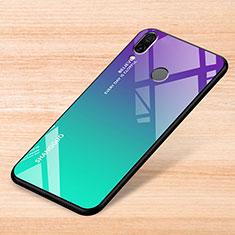 Coque Rebord Contour Silicone et Vitre Miroir Housse Etui Degrade Arc en Ciel pour Xiaomi Redmi Note 7 Vert