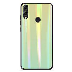 Coque Rebord Contour Silicone et Vitre Miroir Housse Etui Degrade Arc en Ciel R01 pour Huawei Honor 8X Vert