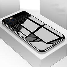 Coque Rebord Contour Silicone et Vitre Miroir Housse Etui M01 pour Apple iPhone 11 Pro Max Noir