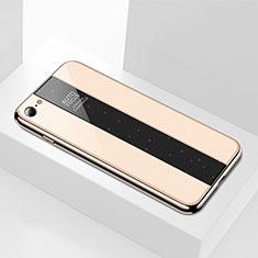 Coque Rebord Contour Silicone et Vitre Miroir Housse Etui M01 pour Apple iPhone 6S Or