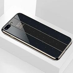 Coque Rebord Contour Silicone et Vitre Miroir Housse Etui M01 pour Apple iPhone 7 Plus Noir