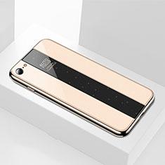 Coque Rebord Contour Silicone et Vitre Miroir Housse Etui M01 pour Apple iPhone 8 Or