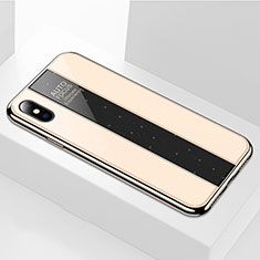 Coque Rebord Contour Silicone et Vitre Miroir Housse Etui M01 pour Apple iPhone Xs Max Or