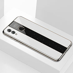 Coque Rebord Contour Silicone et Vitre Miroir Housse Etui M01 pour Huawei Enjoy Max Blanc