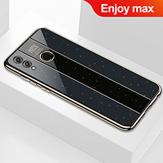 Coque Rebord Contour Silicone et Vitre Miroir Housse Etui M01 pour Huawei Enjoy Max Noir