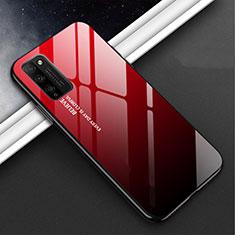 Coque Rebord Contour Silicone et Vitre Miroir Housse Etui M01 pour Huawei Honor 30 Lite 5G Rouge