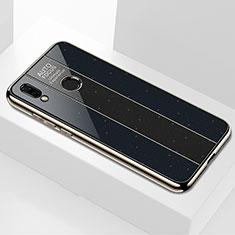 Coque Rebord Contour Silicone et Vitre Miroir Housse Etui M01 pour Huawei P Smart+ Plus Noir