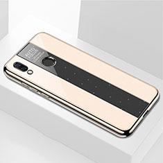 Coque Rebord Contour Silicone et Vitre Miroir Housse Etui M01 pour Huawei P Smart+ Plus Or